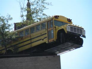 Bus on the roof of City Museum